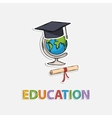 Concept Icon educationGlobe scroll hat graduate vector image