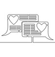 continuous line drawing love chat comment concept vector image vector image