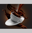 cup of hot chocolate with splash effect and vector image vector image