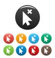 cursor close element icons set color vector image vector image