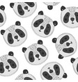 cute cartoon pattern with big panda heads vector image