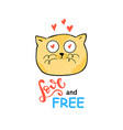 cute cat slogan print vector image