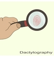 dactyloscopy fingerprint magnifier vector image vector image