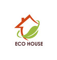ecology leaf house logo vector image vector image