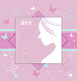 female profile on pink background vector image