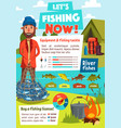 fishing infographics with fisherman tackle chart vector image