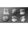 glass cube boxes clear acrylic showcases vector image vector image