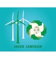 green campaign with electricity plug and wind vector image