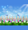 green grass lawn with sunrise on blue sky vector image vector image