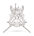 group of samurai ready to fight action vector image vector image