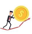 Happy businessman or manager pushes the coin up vector image vector image