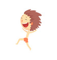 happy smiling cartoon boy in red shorts running vector image vector image