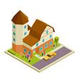 isometric nursing house elderly people vector image vector image