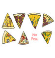 italian pizza hand drawn vector image vector image
