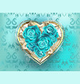 jewelry heart with turquoise roses vector image vector image