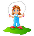 kid playing jumping rope vector image