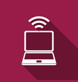 laptop and wireless icon isolated with long shadow vector image vector image