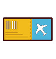 line color airplane ticket travel to vacation vector image vector image