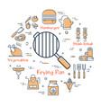 linear round concept of grill frying pan vector image