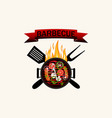 logo grilled food barbecue with flames utensils vector image