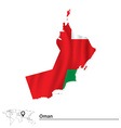 Map of Oman with flag vector image vector image