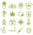 marijuana cannabis icons set of medical vector image