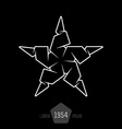 minimal monochrome origami star made of thin lines vector image vector image
