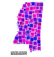 mosaic mississippi state map of square elements vector image vector image