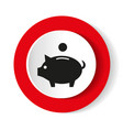 pig icon on a red background vector image