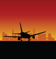 plane lands color vector image vector image