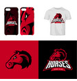 red horse head sport club isolated logo vector image vector image
