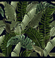 seamless pattern with tropical leaves on black vector image vector image