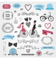set of vintage wedding vector image vector image