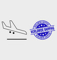 stroke airplane landing icon and grunge vector image vector image