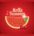 summer banner with watermelon and cherry vector image vector image