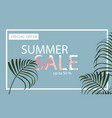 Summer sale banner with flamingo and tropical