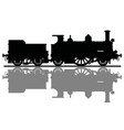 the black silhouette of an old steam locomotive vector image vector image