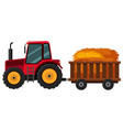 tractor with hay in the cart vector image
