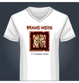 V neck shirt template with human brain inside main vector image vector image