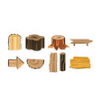 wooden stubs and logs set firewood and vector image