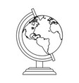 world globe symbol in black and white vector image vector image