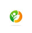 ecology leaf people nature logo vector image