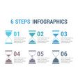 6 steps infographics with hourglass vector image
