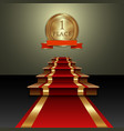 abstract of red carpet and first place gold medal vector image vector image