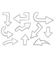arrows black and white hand drawn sketch vector image