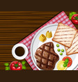 background with steak and toasted vector image