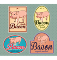Bacon vintage labels set vector image vector image