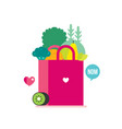 bag with healthy food vegetables fruits and greens vector image