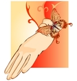 Beige female glove decorated with butterfly vector image vector image