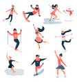big set of young people doing winter sports vector image vector image